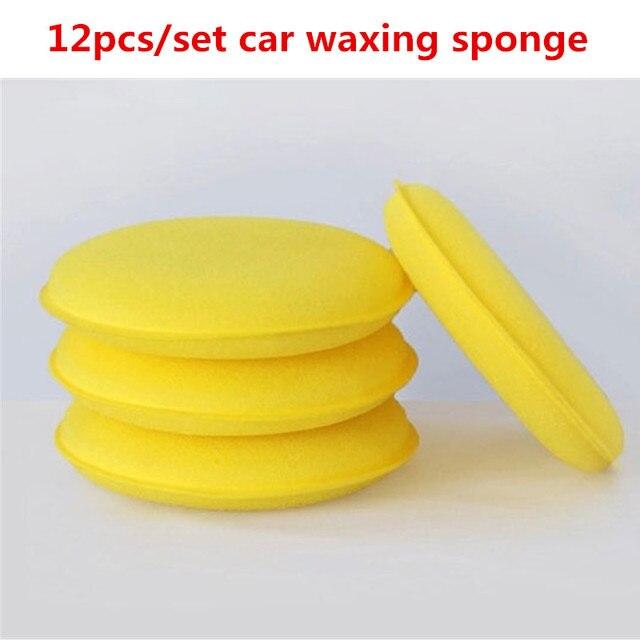 12pcs/Set Car Auto Wax Polish Foam Sponge Hand Soft Wax Yellow Sponge Pad Waxing Towel Sponge Brush Car Paint Care Cleaning