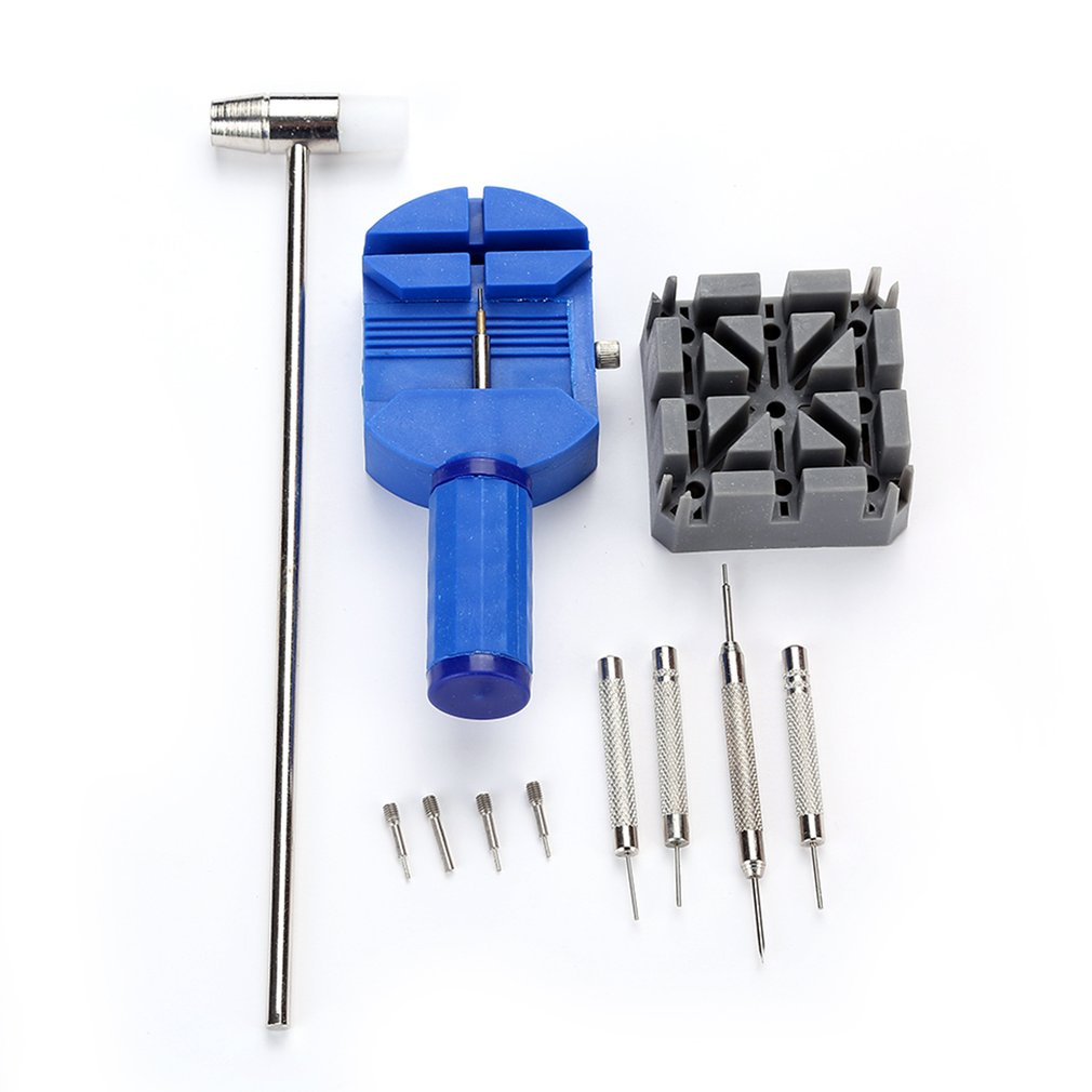 11pcs/set Watch Repairing Tools Kit Durable Watch Belt Holder Pin Punches Hammer Set Household Watch Maker Tools Kit