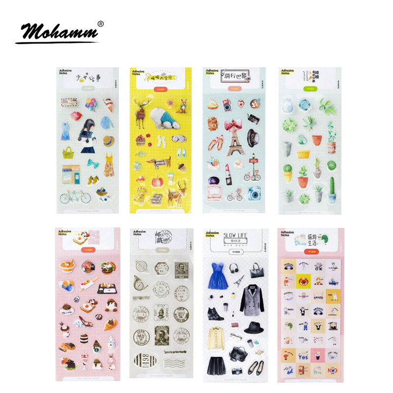 Creative Simple living series Pvc Decorative Adhesive Stickers Diy Diary Scrapbooking Seal Sticker Stationery School Supplies diary life cartoon food decorative stickers adhesive stickers scrapbooking diy decoration diary stickers
