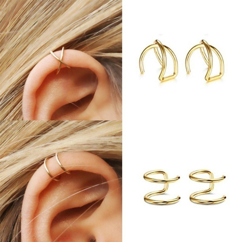 Simple Earring Ear-Cuffs Leaf No-Piercing Fake Gold Cartilage Women For Clip 3pcs/Set