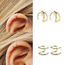 3 шт./компл. простые серьги-кольца для женщин золотой лист кафф на ухо клип серьги головные уборы Earcuff не пирсинг ложная из нержавеющей стали, серьги