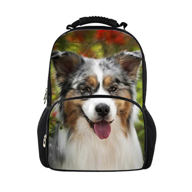 Australian Shepherd Dog Lover Fashion School Bags for Childrens Girls Boys School Backpack Teen Schoolbag Book Bag Sac Mochila
