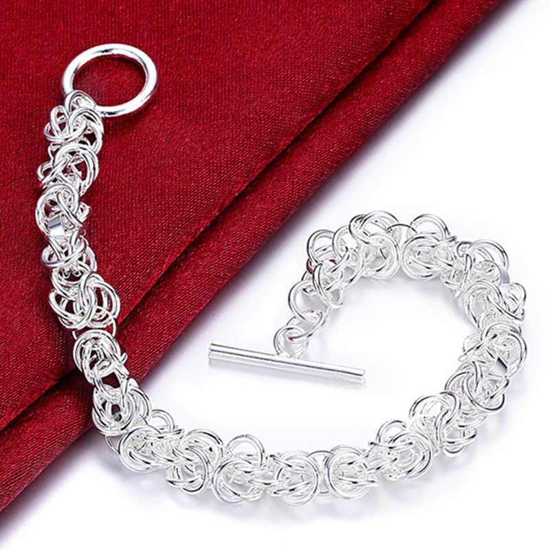 Nowy modny geometria 925 srebrny Col bransoletki dla kobiet Wedding Party biżuteria prosta moda dziewczyna bransoletka damska biżuteria bożonarodzeniowa