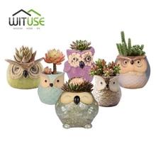 WITUSE Owl flower pot ceramic glazed plants pots decorative Cartoon clay garden pot for balconies small indoor flowers 24 models