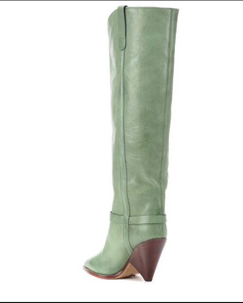 Métal Slip Chaussures Genou Split Vert Green Mode Femmes En Sexy Bout Pointu Hauteur À Bottes Étrange on Cuir De Décoration Du Style Chaude xwwSUvPqA