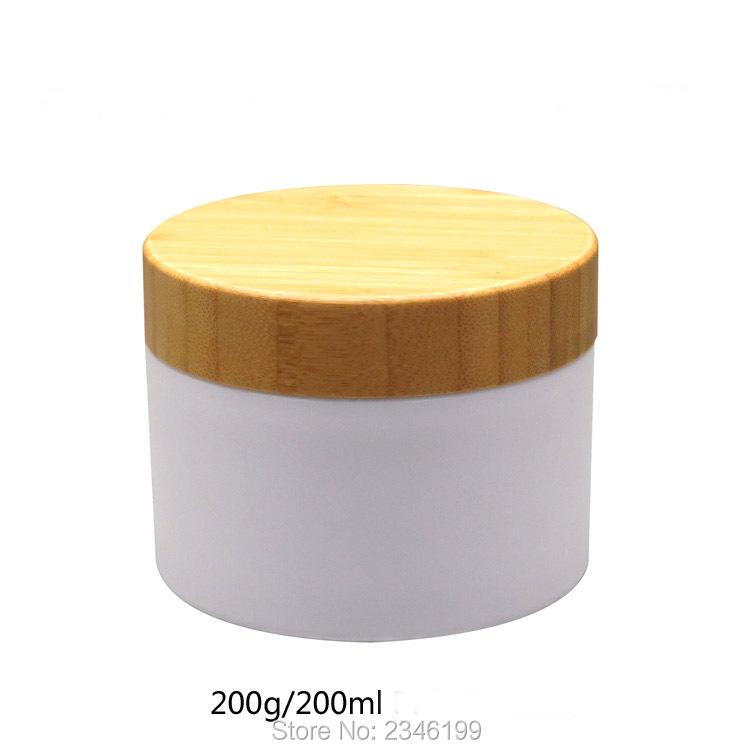 200G200ML 10pcs/lot Plastic Cosmetic Cream Container with Bambo Cap,Elegant Bamboo Facial Cream Jar,Cosmetic Mask Refillable Box 200pcs x 200g big frosted abs plastic cosmetic packaging bath salt jar with wooden spoon