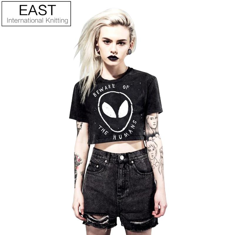 EAST KNITTING H730 2017 Summer Style Grunge Women Crop Top Graphic Tees BEWARE OF THE HUMANS Alien Printed Short T Shirt
