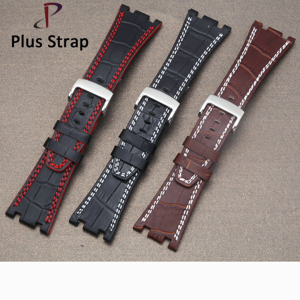 New Genuine Leather Men Watch Band Strap for AP Soft Calf Wristband 28MM Handmade Belt Bracelet Waterproof istrap 22mm handmade genuine calf leather padded replacement watch band for men black 22