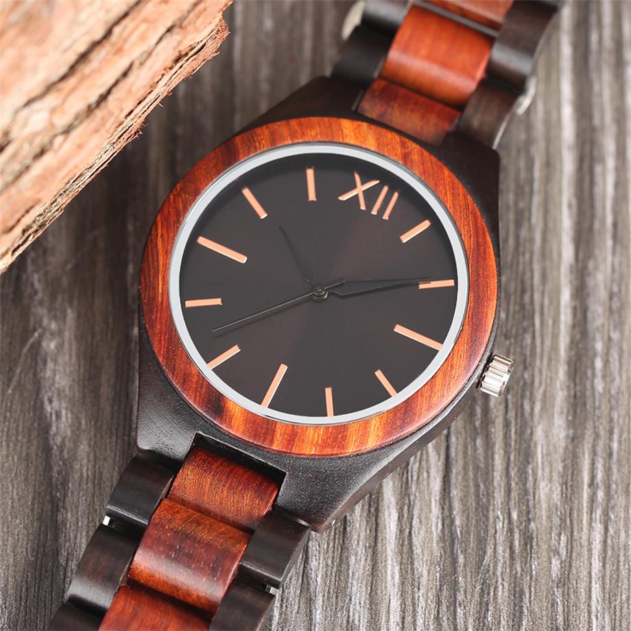 Dark Brown Sapphire Blue Nature wood watch men casual 10