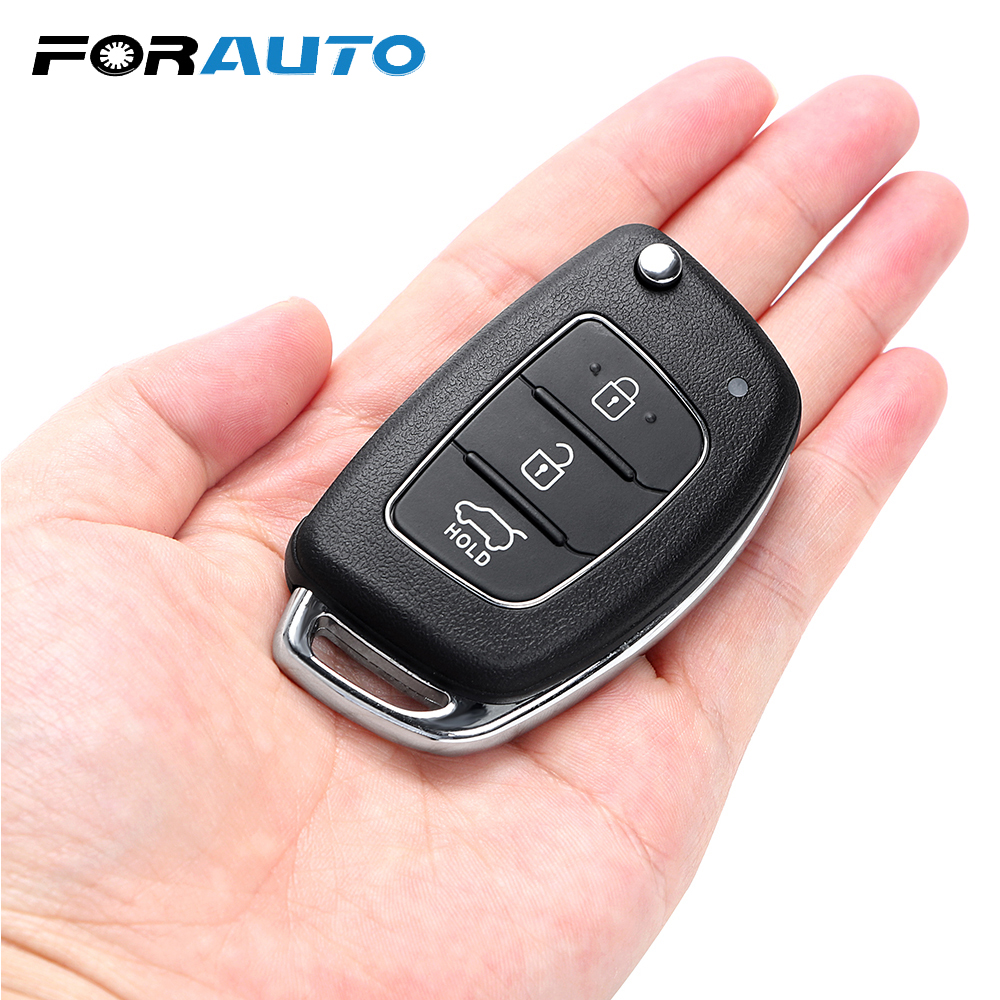 FORAUTO Key Case Fob Shell Replacement 3 Buttons For Mistra Hyundai Solaris ix35 ix45 Verna Santa Cover Case Car Key Remote xinyuexin car key case cover silicone for hyundai elantra solaris 2016 2017 2018 3 buttons folding remote key shell