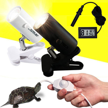 UVA+UVB 3.0 Reptile Lamp Kit with Clip on Ceramic Light Holder Digital Thermometer Hygrometer Turtle Tortoises Basking UV Lamp