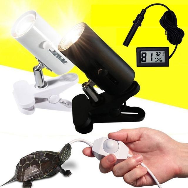 UVA+UVB 3.0 Reptile Lamp Kit with Clip on Ceramic Light Holder Digital Thermometer Hygrometer Turtle Tortoises Basking UV Lamp