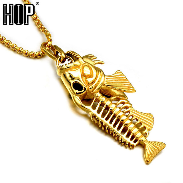 Alibaba aliexpress hip hip punk hollow gold color titanium stainless steel fish bone fishing hook pendant necklaces for men mozeypictures Choice Image