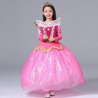 Sleeping Beauty Princess Aurora Dress Mesh Children Costume Rapunzel Ball Gown Girl Cosplay Princess Costumes Children