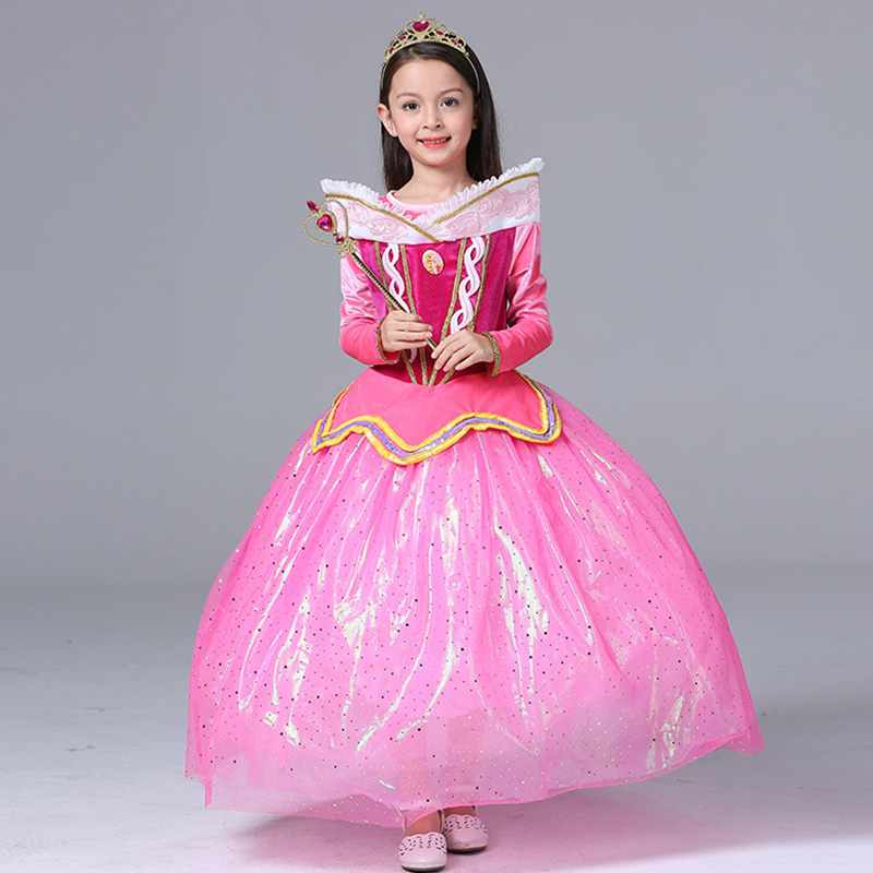 modellazione duratura ordine colore attraente US $28.3 |Sleeping Beauty Principessa Aurora vestito Dei Bambini della  maglia costume rapunzel abito di sfera della ragazza cosplay Principessa ...