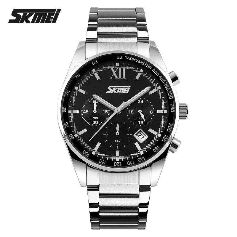 2016 Top Luxury Brand Chronograph 6 Function Hand Military Men Watch Full Steel Quartz Watch Brand Reloj Deportivo Hombre SKMEI