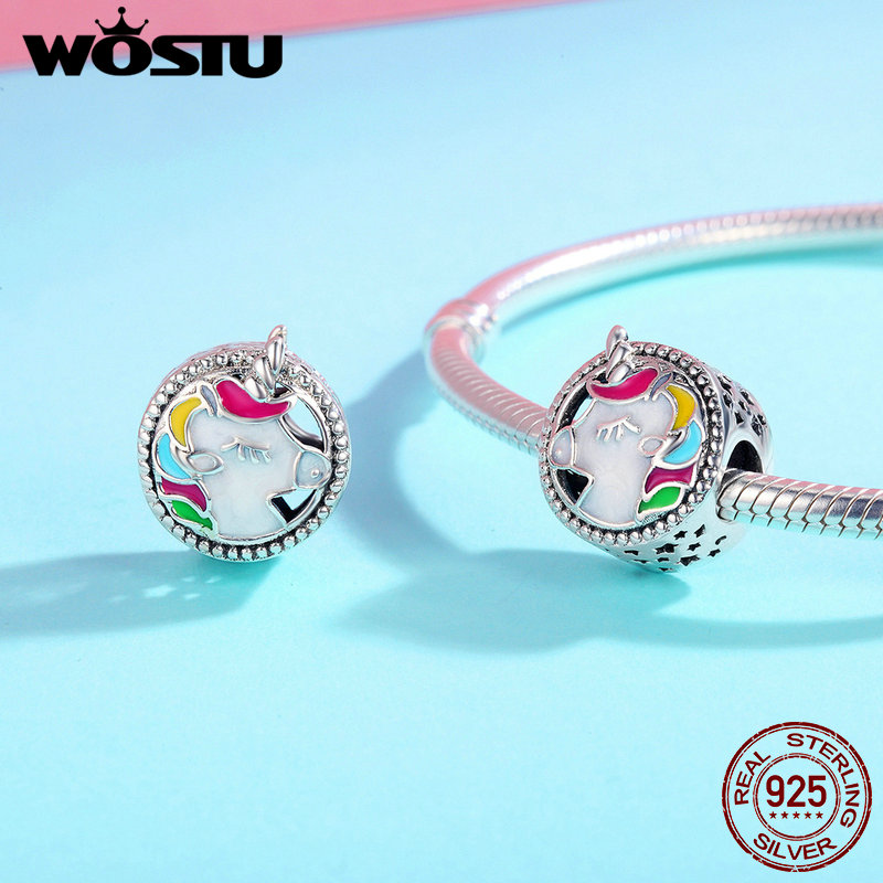 WOSTU HOT SALE 925 Sterling Silver Lucky Licorne Charm White Enamel Beads Charm For Valentine's Day Gift Jewelry Making BKC362