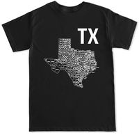 TX TEXAS MAP LONE STAR STATE PRIDE COUNTY DALLAS HOUSTON AUSTIN BBQ MENS T SHIRT