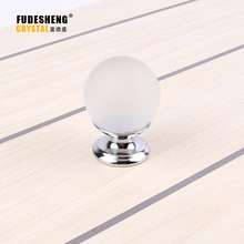 30mm*40mm Modern Furniture Cabinet Matte Handle Drawer Pull Frosted Glass Ball Silver chrome Door handles Crystal ball Wardrobe