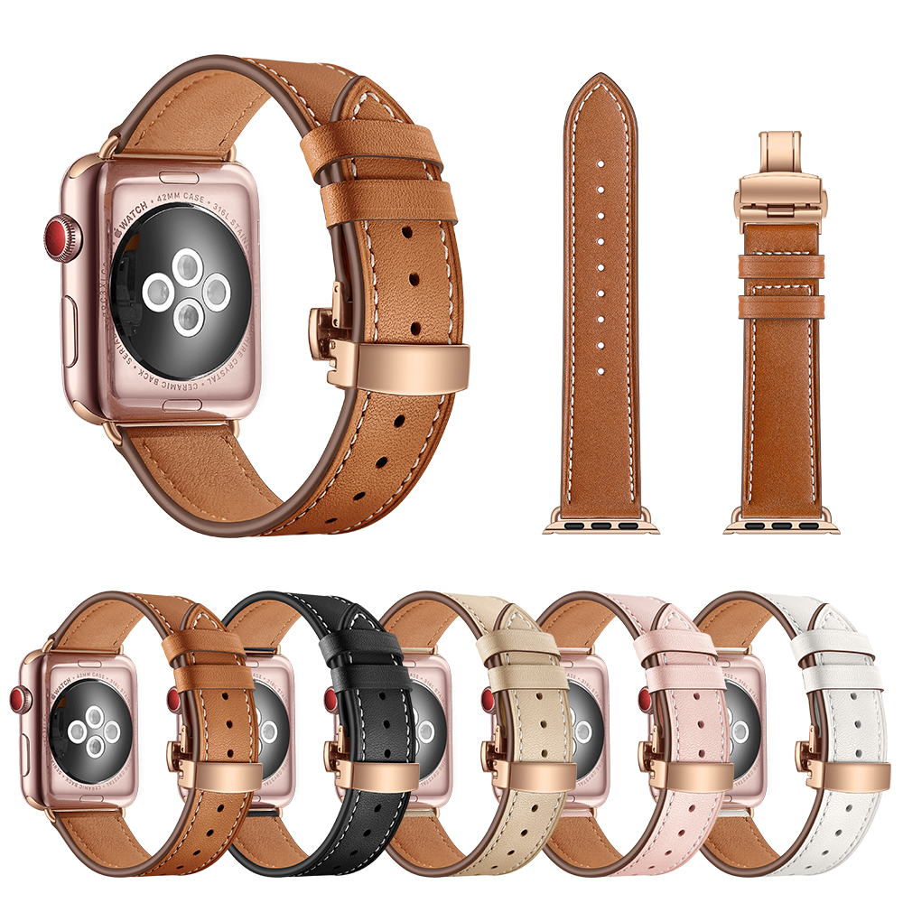 Genuine Leather strap for Apple Watch 3/2/1 42mm 38mm Iwatch Series 3 2 1 band Stainless steel Butterfly buckle Wrist Watchband leather for apple watch band 38mm 42mm butterfly buckle strap iwatch series 4 3 2 1 watchband replacement accessories wrist belt