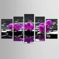 Purple Orchid Flower Bamboo Stone 5 Pieces Art Work Canvas Prints Zen Art Wall Decor Spa