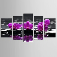 Lila Orchidee Blume Bambus Stein 5 Stücke Kunstwerk Leinwand Zen Kunst Wanddekor Spa Massage Malerei