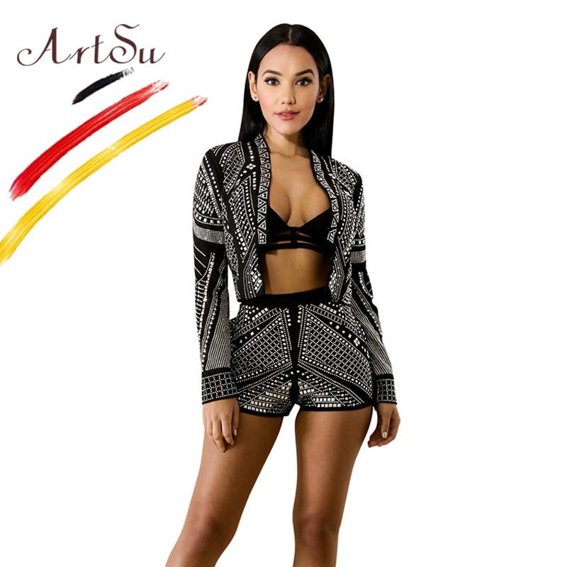 ArtSu Luxury Diamond Black Club Stage Clothes Women V Neck ...