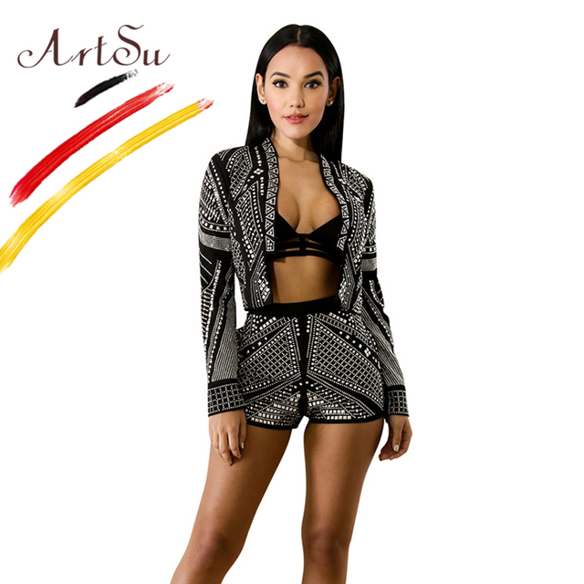 08f530b2b7b9 ArtSu Luxury Diamond Black Club Stage Clothes Women V-Neck Long Sleeve  Blazer Jacket And Short Pants 2 Piece Set Party Suits