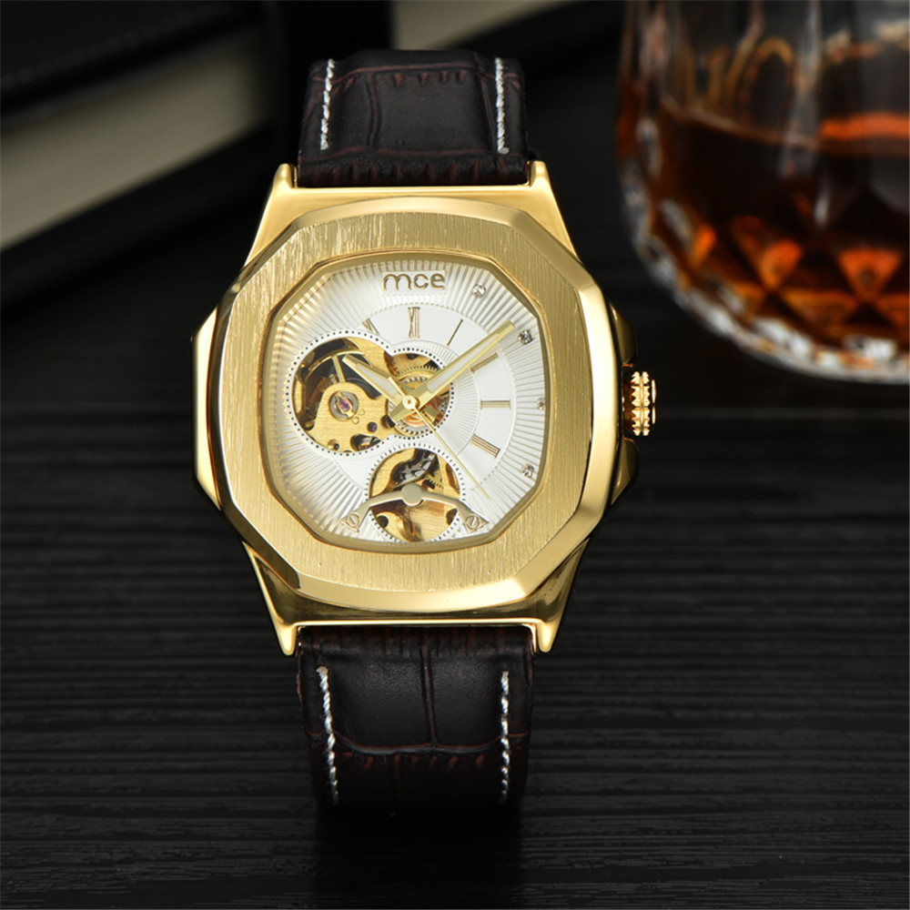 2017 New Hot Sale Skeleton Fashion Mechanical Men Watch MCE Luxury Branded Business Leather Strap Wristwatch CLASSIC M0314 new hot sale skeleton hollow fashion mechanical hand wind men luxury male business leather strap wrist watch relogio masculino
