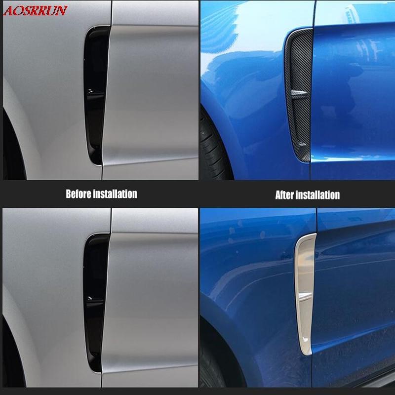 Pour Porsche Panamera 971 Turbo 2017 2018 Chrome fibre de carbone porte côté évent flux d'air garde-boue couvercle de sortie garniture aile voiture style