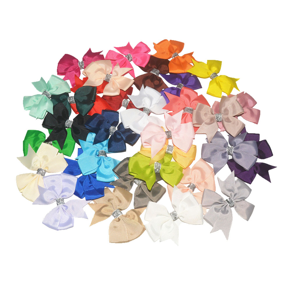 200pcs lot 3 Classic Grosgrain Ribbon Pinwheel Bows with Glitter Center Little Girl Hair Accessories Fast