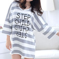 White Striped 100%Cotton Casual Night Skirts Summer Bat Sleeve Nightgown Loose Sleepwear Summer Home Dress Clothes For Women