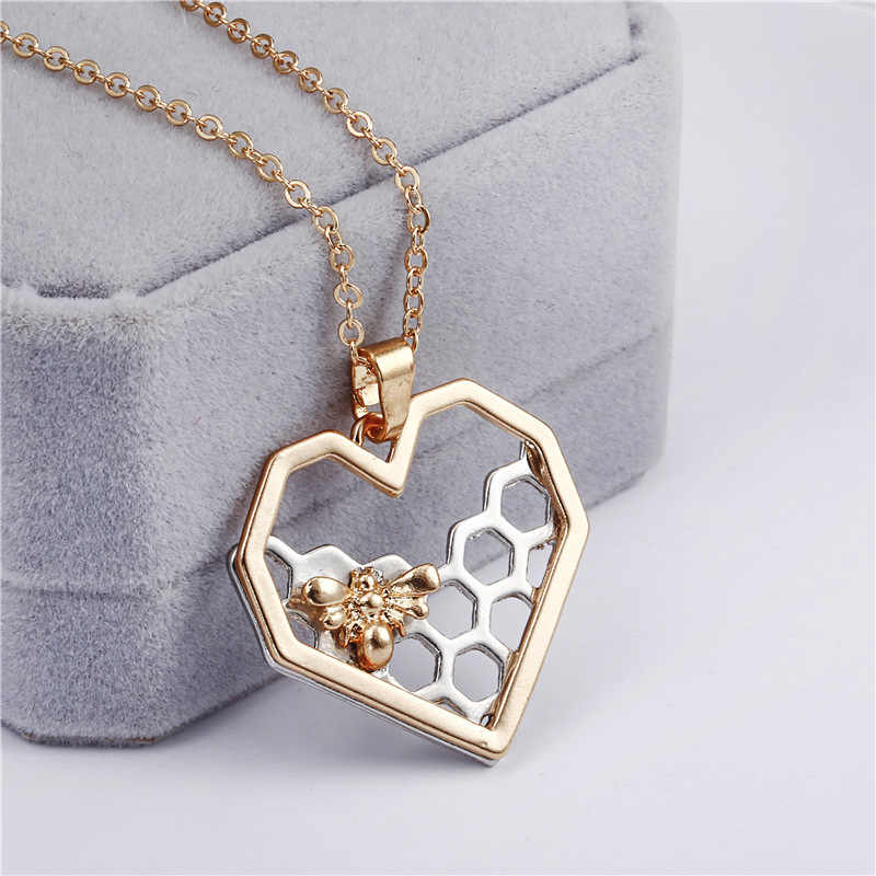 Hot Sales Delicate Pendant Necklace Metal Heart Honeycomb Bee Necklaces For Women Gold Silver Fashion Jewelry Birthday Gifts