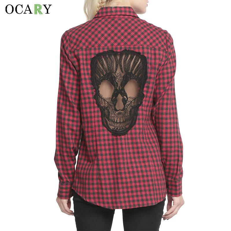 Crâne évider femmes Blouses Plaid chemises à manches longues Blouse printemps été Blusas Mujer Haut Ete grande taille XXXXL Chemise rouge