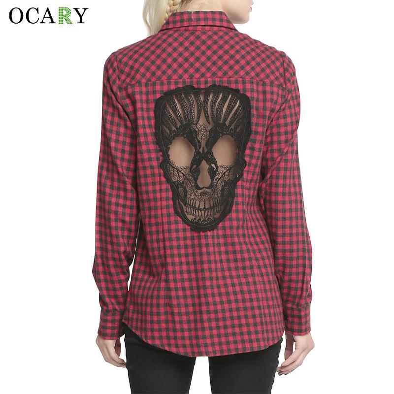 Skull Hollow Out Donne Camicette Plaid Shirt Manica Lunga Camicetta primavera Estate Blusas Mujer Haut Ete Plus Size XXXXL Chemise rosso