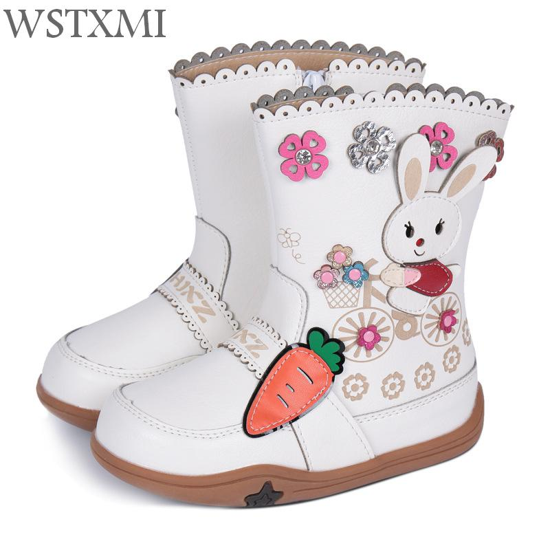 2018 Winter Shoes Baby Boots for Girls Snow Boots Kids Leather Waterproof Fashion Flower Rabbit Pattern Plush Warm Children Boot fashion rabbit and grass pattern 10cm width wacky tie for men