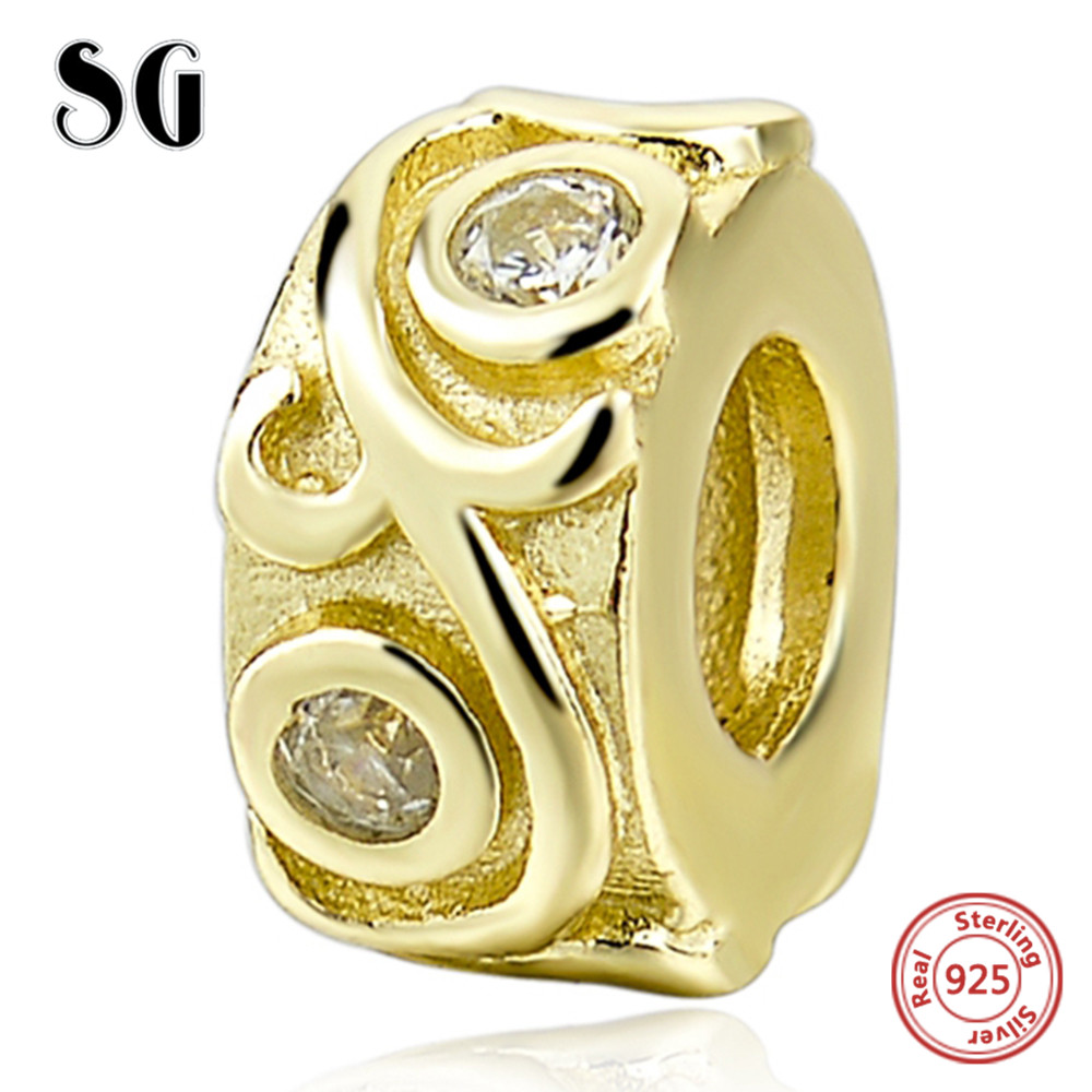 Cubic Zirconia Beads Golden Charms Beads Fits Authentic Pandora Charming Bracelets Jewelry for Women Hollow Out Pattern Fancy