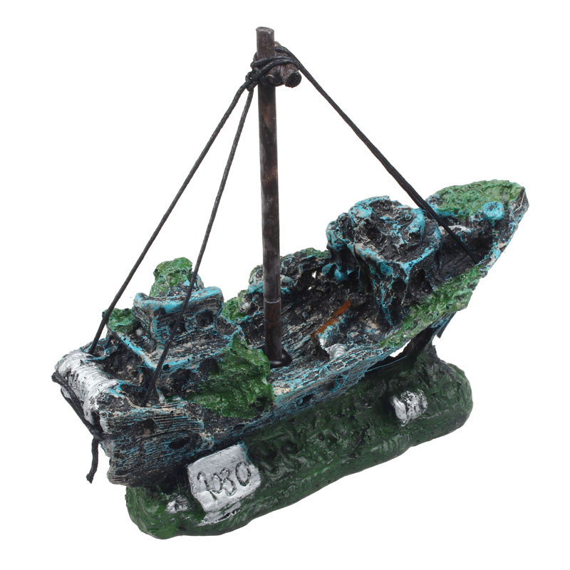 2016 Hot Sale Fish Tank Aquarium Ornament Wreck Sailing