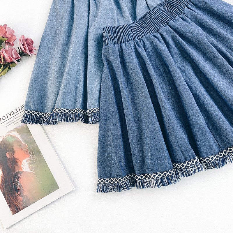AcFirst Spring New Blue Women Skirts Women High Waist A-Line Skirts Mini Skirts All-match Clothing Casual Tassel Skirts