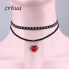 ZRHUA Mode Charme Halskette Anhänger Regenbogen Herz Halsband Für Frauen Schmuck Stilvolle Multi-Schicht Einzigen Halsketten Großhandel