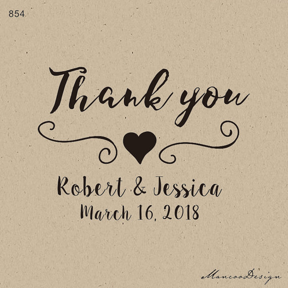 2x15 Inch Custom Heart Elegant Stamp Rubber Thank You For Personalized Wedding Favors