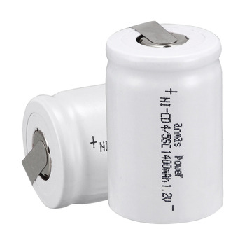 Anmas power!Popular white color ! 2PCS a set Ni-Cd 4/5 SubC Sub C 1.2V 1400mAh Rechargeable Battery with Tab - white image