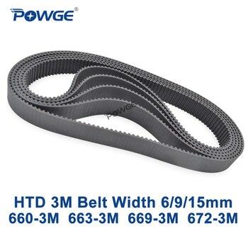 POWGE HTD de 3M Correa C = 660, 663, 669, 672 de ancho 6/9/15mm dientes, 220, 221, 223, 224 HTD3M síncrono 660-3-663-3-669-3-M 672- 3M