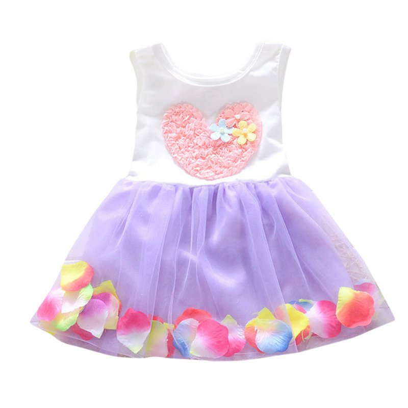 Summer Kids Baby Girl Dress Sleeveless Toddlers Baby Heart Flower Children Girl Dress