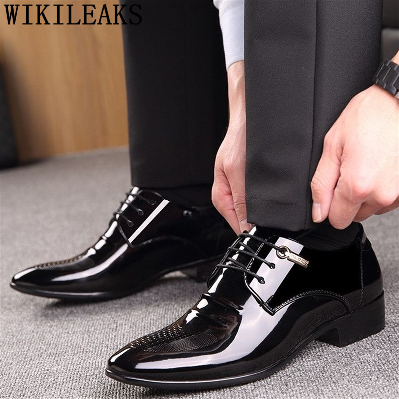 Black Designer Formal Oxford Shoes For Men Wedding Shoes Leather Italy Pointed Toe Mens Dress Shoes 2020 Sapato Oxford Masculino