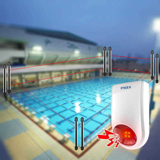 US $211.44 40% OFF|Wireless Perimeter Sensors Outdoor Swimming Pool Alarm  System Loudly Siren 100M Dual Beam Infrared Detector Intrusion Security-in  ...