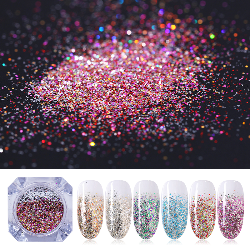 Gradient Mini Hexagon Shape Laser Shining Nail Art Glitter DIY Sparkly Paillette Tips Nail Manicure Sequins Dust For Nail-in Nail Glitter from Beauty & Health