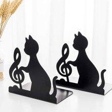 Sujetalibros soporte de Libro Negro Animal gato Metal arte sujetalibros Mesa Vintage decoración de escritorio organizador estante soporte de libro