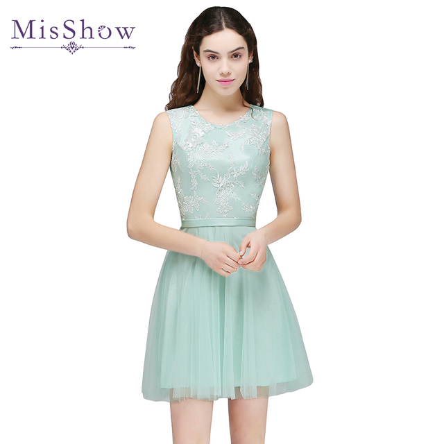 Short prom dresses 2018 Cheap Mint Green Pink vestido formatura ...