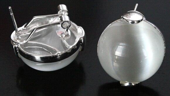 925 bijoux 18 MM blanc naturel opale clair boucles doreilles